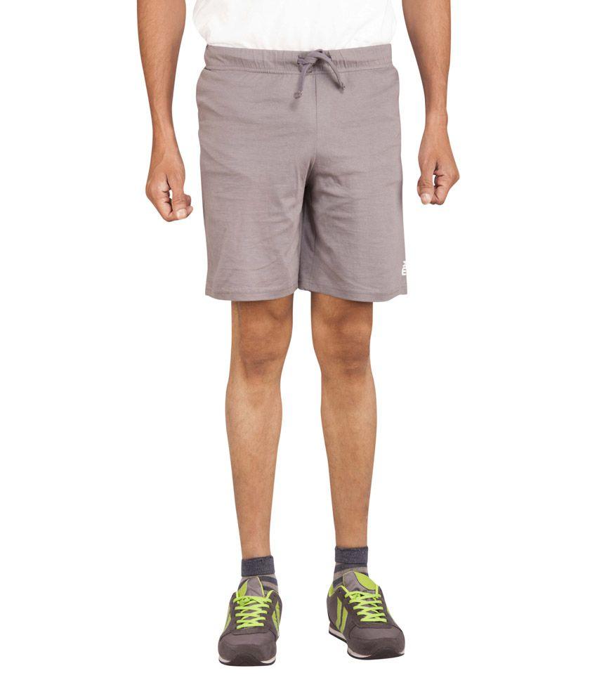 Moxi Gray Cotton Solids Shorts