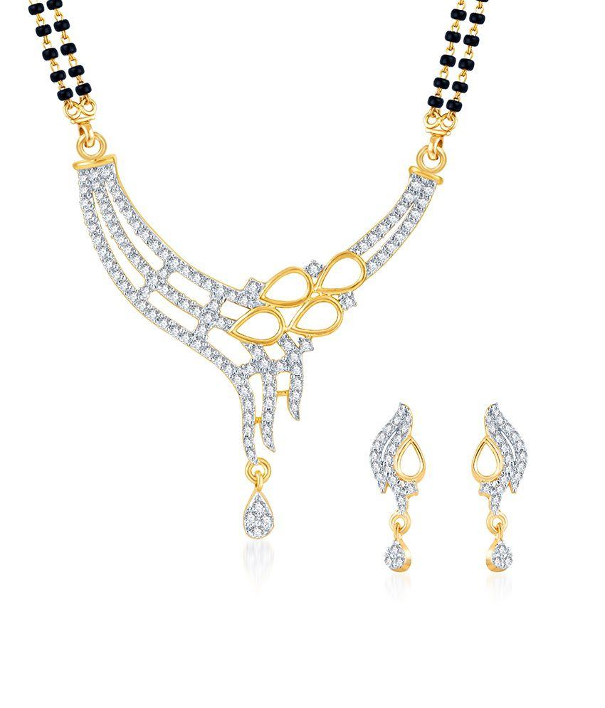 Sukkhi AD Golden Drops Mangalsutra Set (Mangalsutra Mala may vary from the actual image)