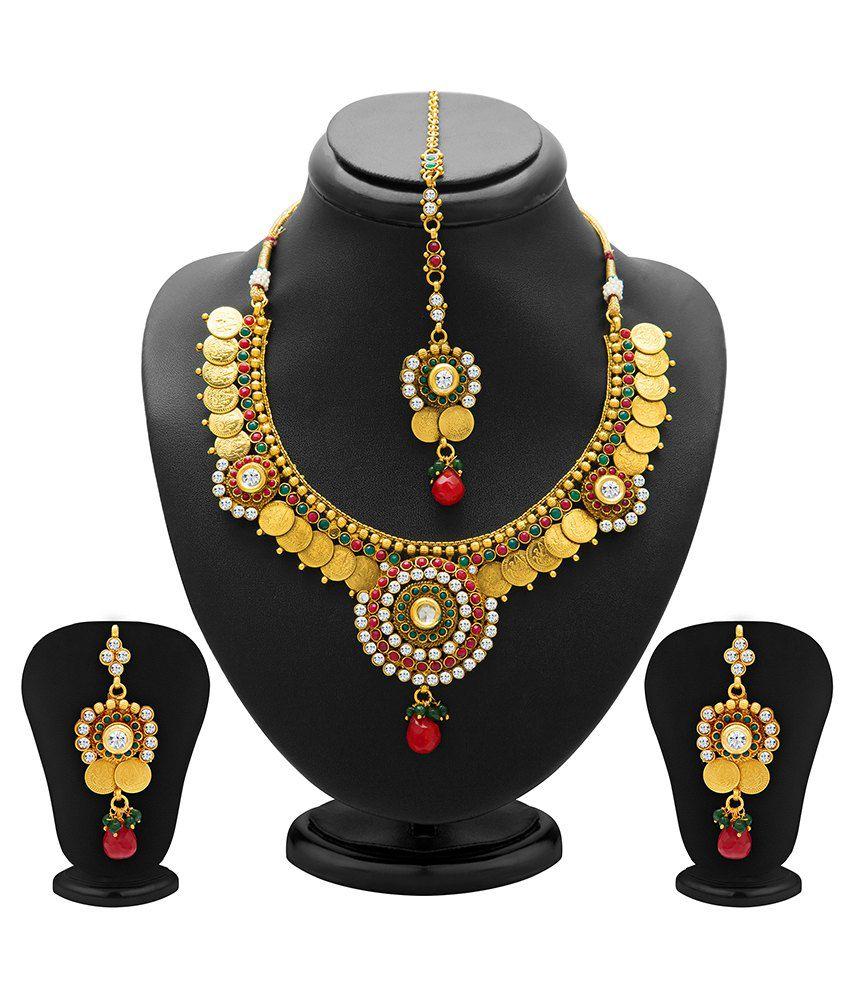 Sukkhi Beautiful Antique Necklace Set With Maang Tika