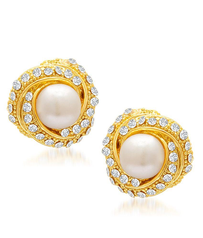 Sukkhi Designer Gold Plated Ad Moti Earring For Women