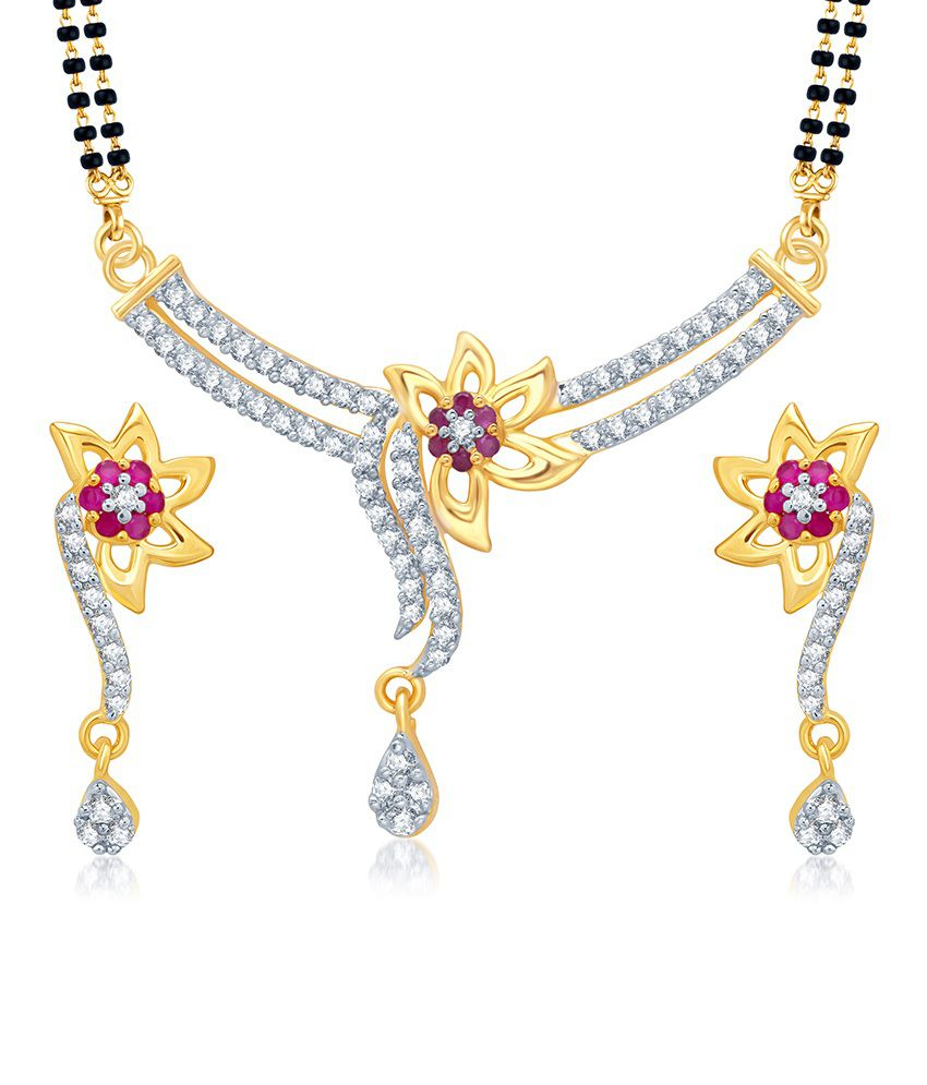 Sukkhi Excellent Gold and Rhodium Plated Cubic Zirconia and Ruby Stone Studded Mangalsutra Set (Mangalsutra Mala may vary from the actual image)