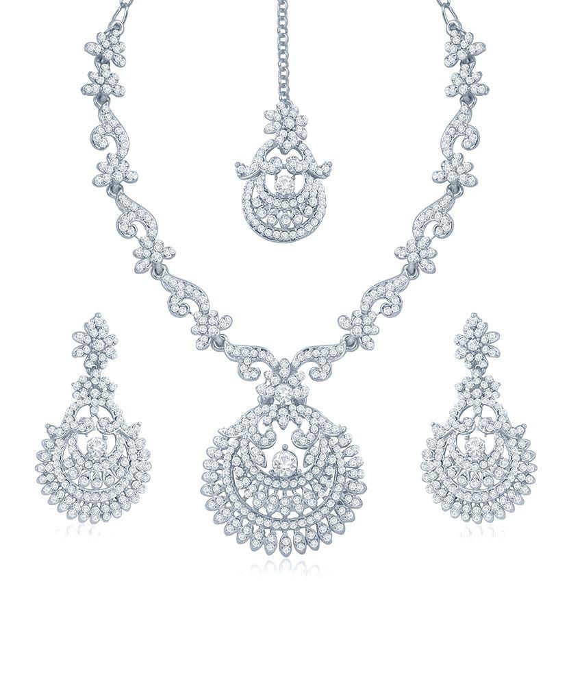 Sukkhi Exotic Rhodium Plated Australian Diamond Stone Studded Necklace Set