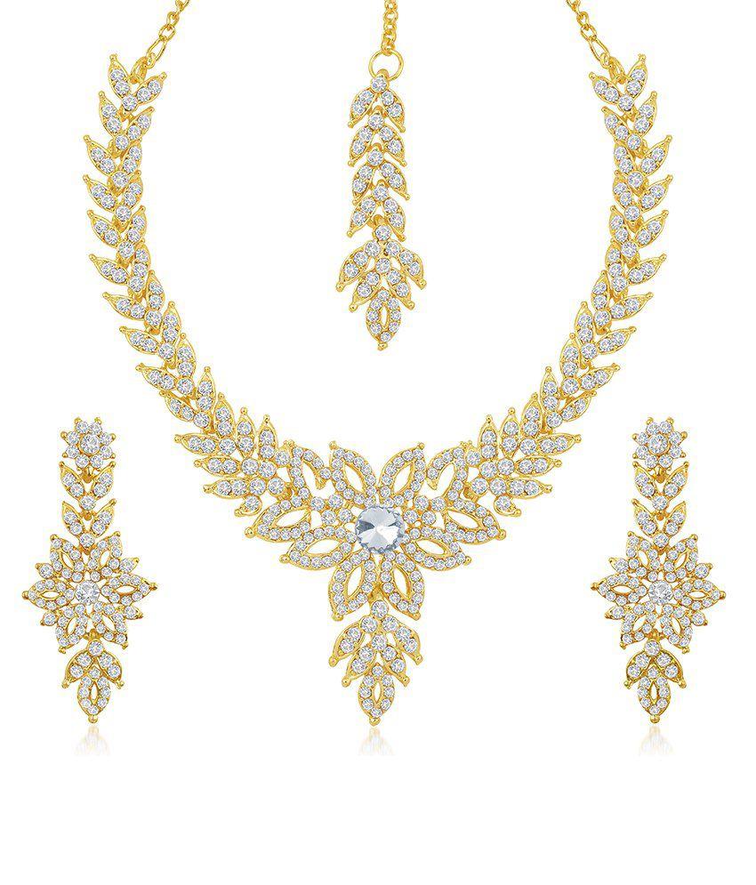 Sukkhi Eye-Catchy Gold Plated Australian Diamond Stone Studded Necklace Set