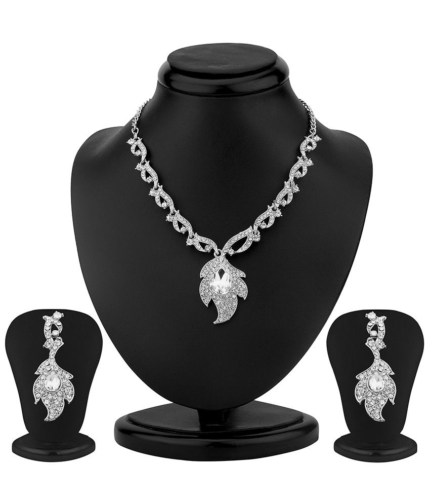 Sukkhi Gleaming Rhodium Plated Australian Diamond Necklace Set