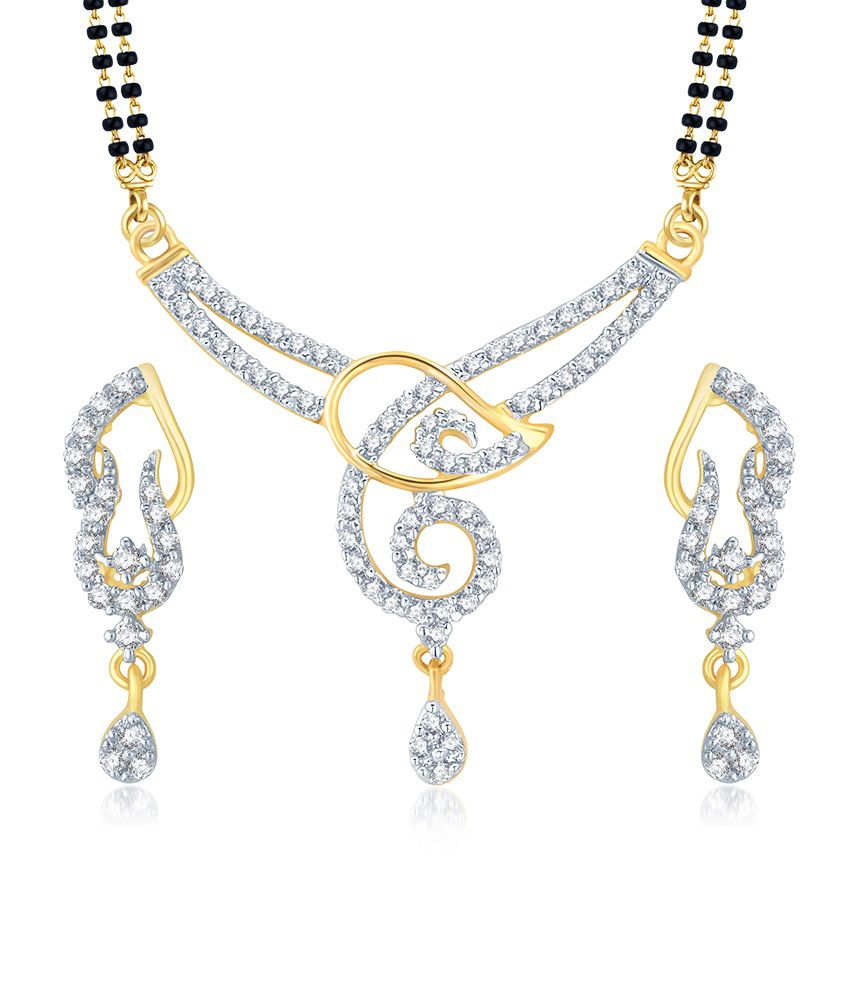 Sukkhi Glistening Gold and Rhodium Plated Cubic Zirconia Stone Studded Mangalsutra Set (Mangalsutra Mala may vary from the actual image)