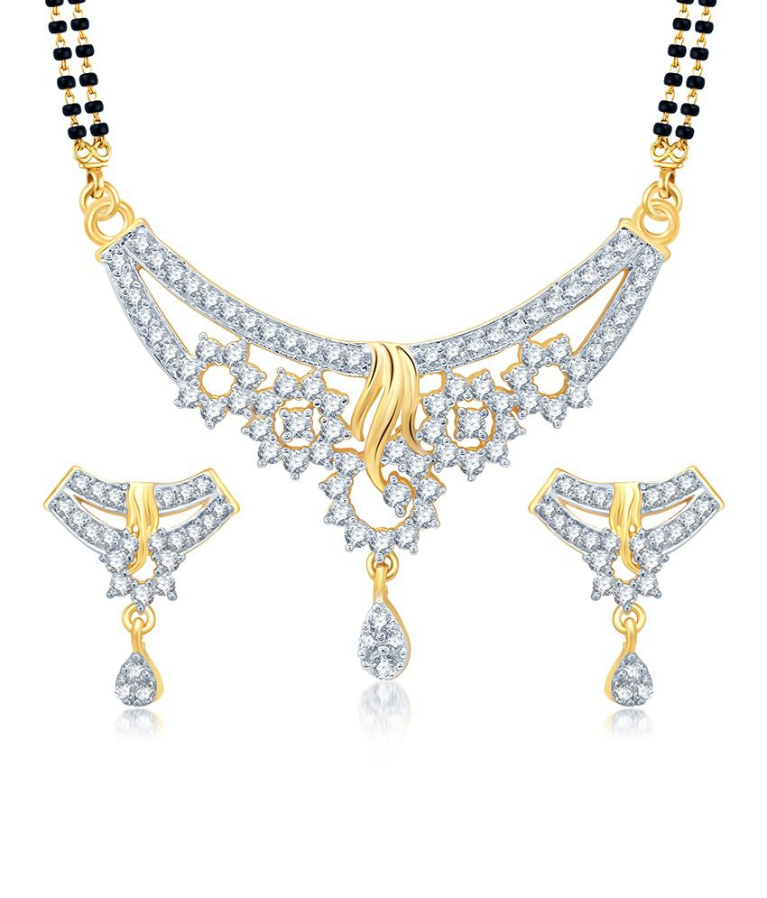 Sukkhi Magnificent Gold and Rhodium Plated Cubic Zirconia Stone Studded Mangalsutra Set (Mangalsutra Mala may vary from the actual image)