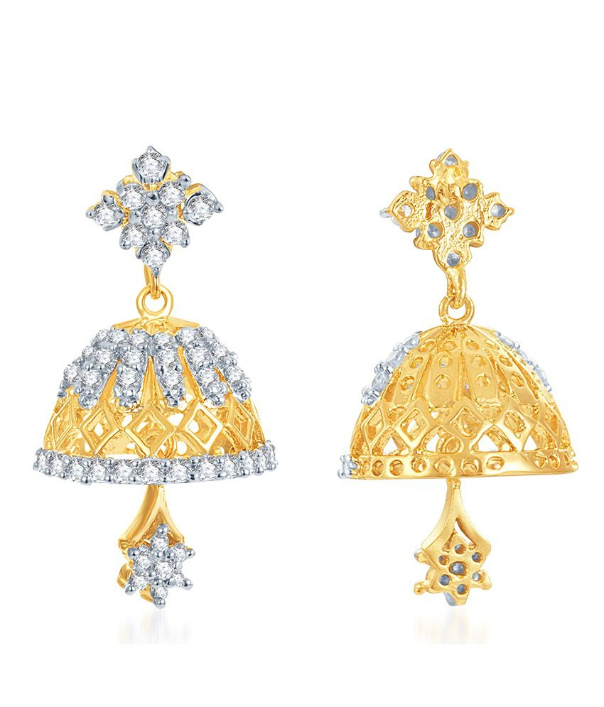 Sukkhi Marvellous Gold and Rhodium Plated CZ Jhumki
