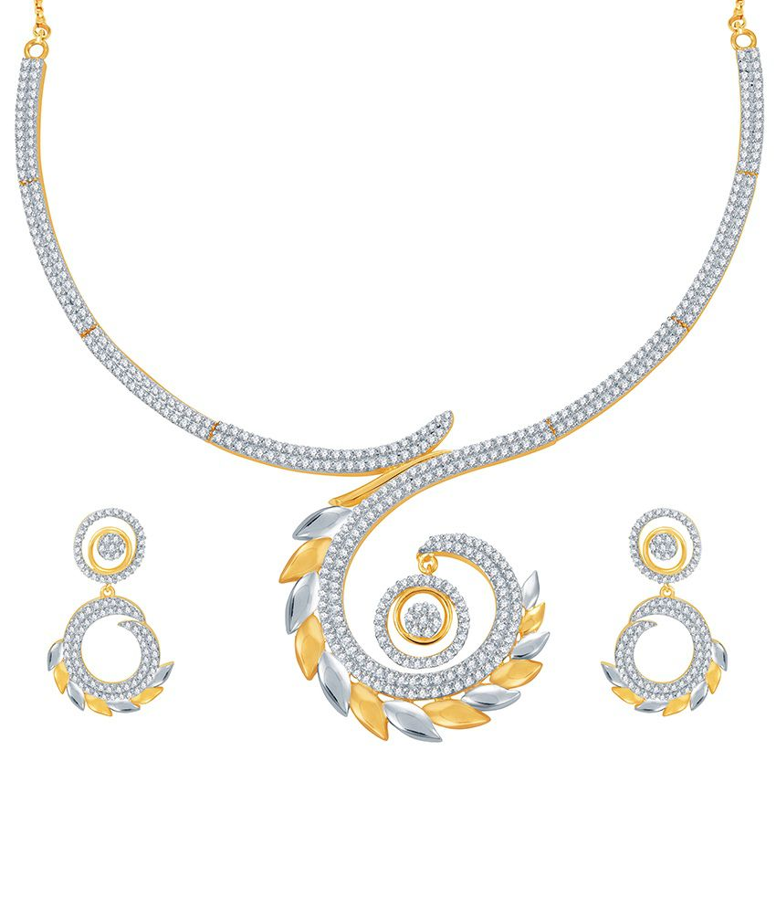 Sukkhi Marvellous Gold and Rhodium PlatedCZ Necklace Set