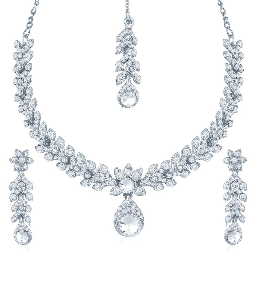 Sukkhi Resplendent Rhodium Plated Australian Diamond Stone Studded Necklace Set