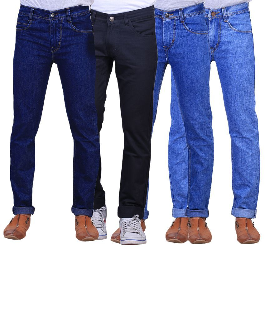 X-Cross Classic Combo Of 4 Blue & Black Jeans For Men