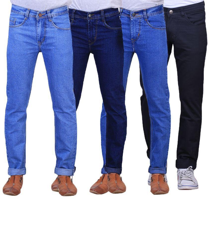 X-Cross Classic Combo Of 4 Blue & Black Regular Fit Jeans For Men