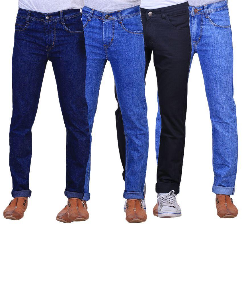 X-Cross Cool Combo Of 4 Blue & Black Jeans For Men