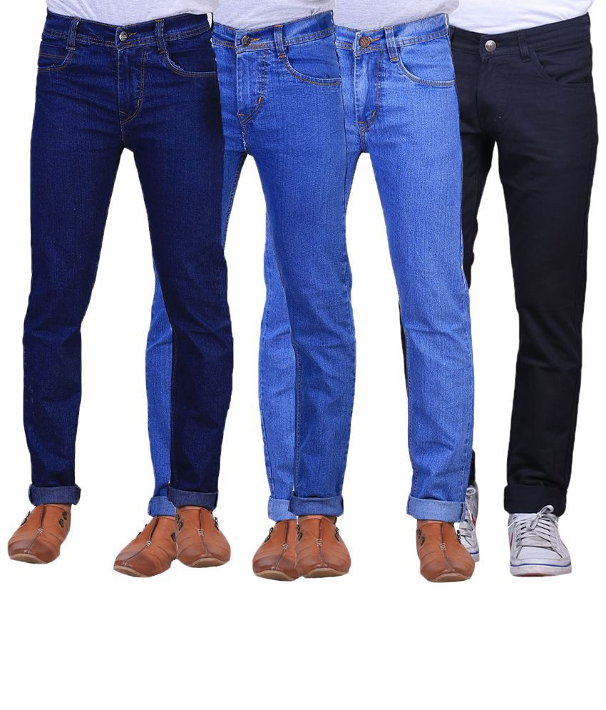 X-Cross Exclusive Combo Of 4 Blue & Black Jeans For Men