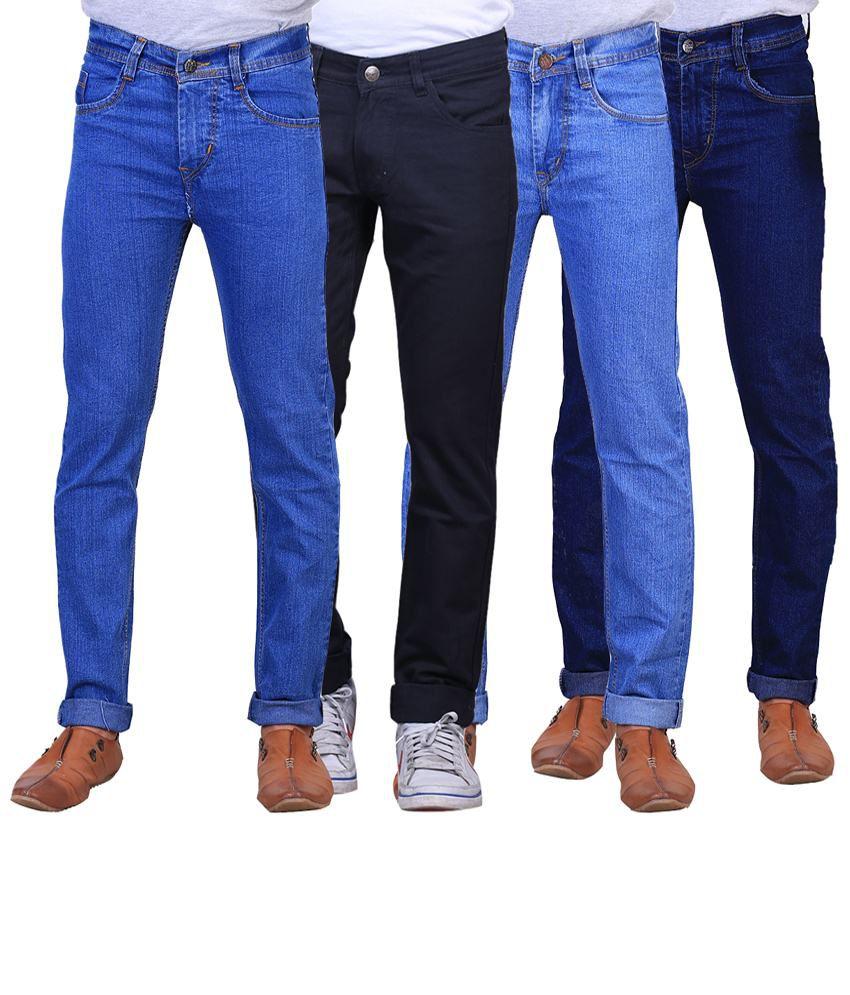 X-Cross Exclusive Combo Of 4 Blue Regular Fit Jeans For Men