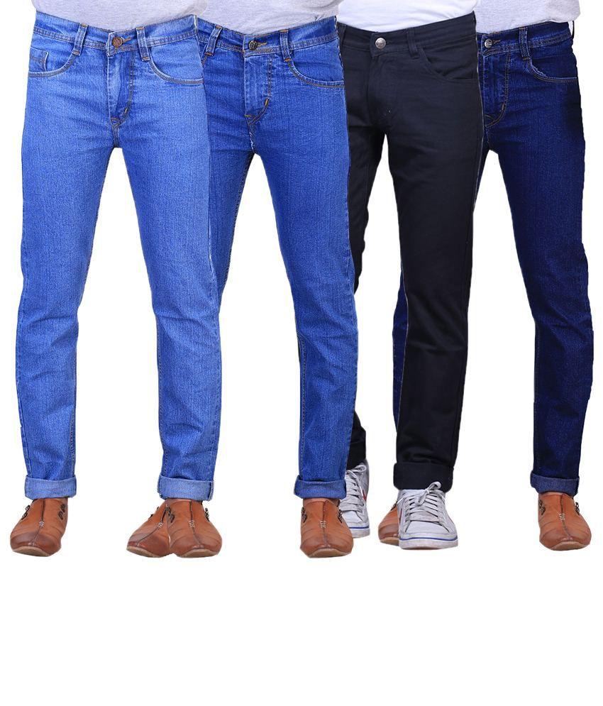 X-Cross Stylish Combo Of 4 Blue & Black Regular Fit Jeans For Men