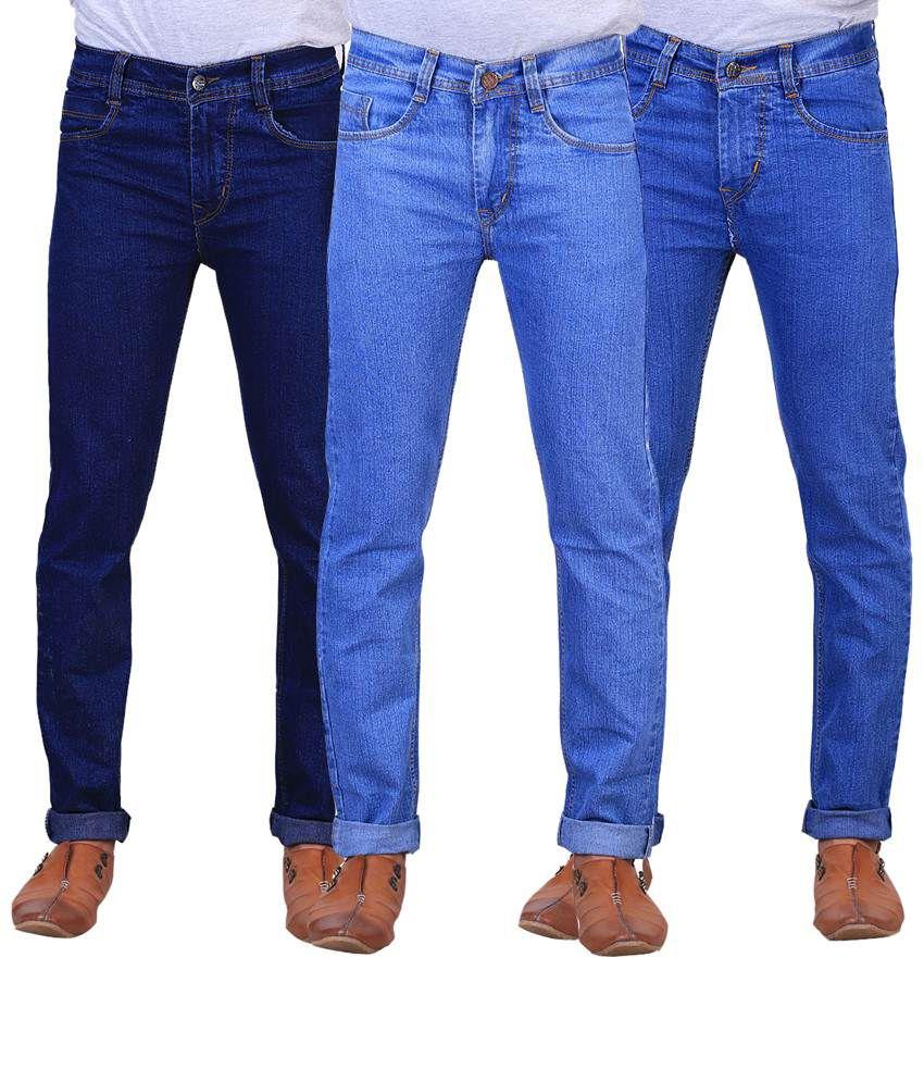 X-Cross Stylish Combo Of 3 Blue & Black Regular Fit Jeans For Men