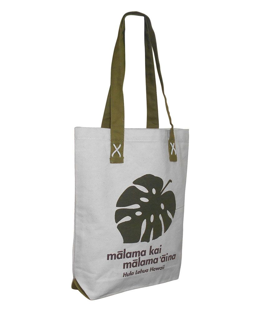 EARTHBAGS Canvas Bag with Olive handle and Leaf Print