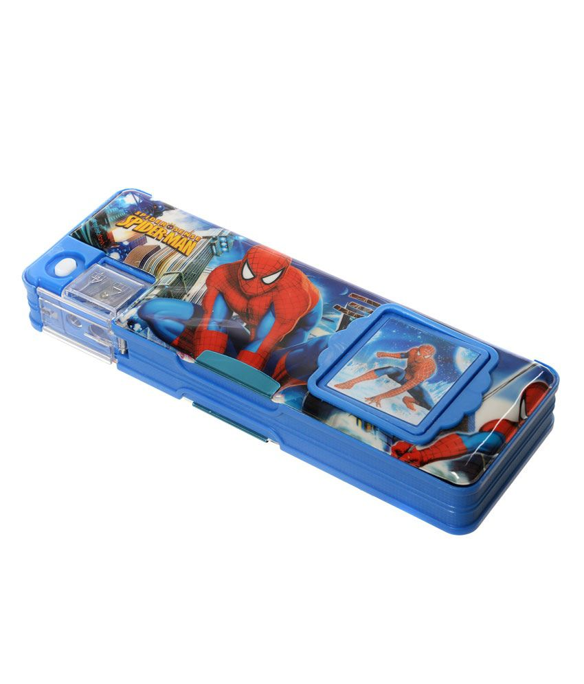 KKD Blue Spiderman Megnatic Pencil Box with Calculator ...