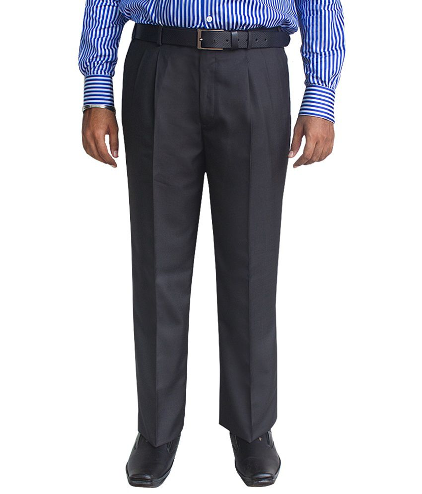 Kinger Black Poly Viscose Regular Fit Trousers