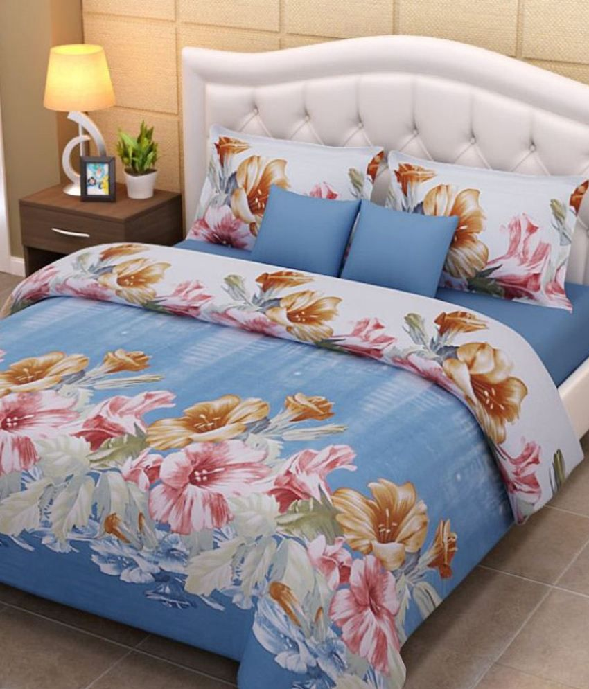 Bed sheets with price -  Home Creations 3d Print 5 Double Bed Sheets With 10 Pillow Covers Combo