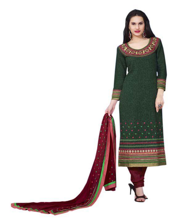 Shravika Green Cotton Printed Dress Material
