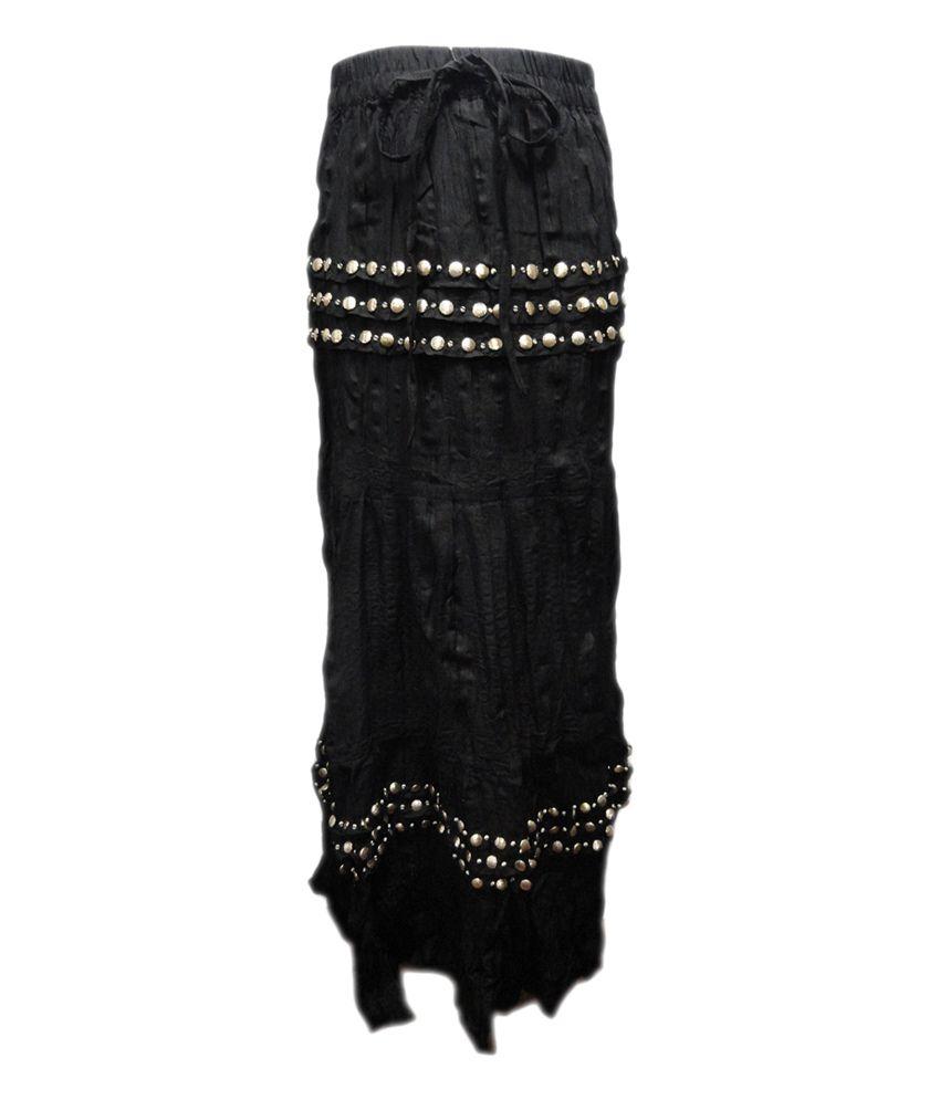 Threads Black Cotton Printed Elastic Skirt