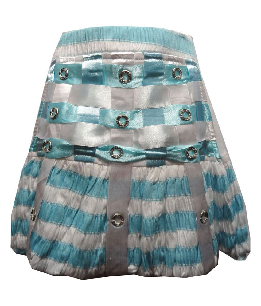 Threads Blue Synthetic Printed Elastic Skirt