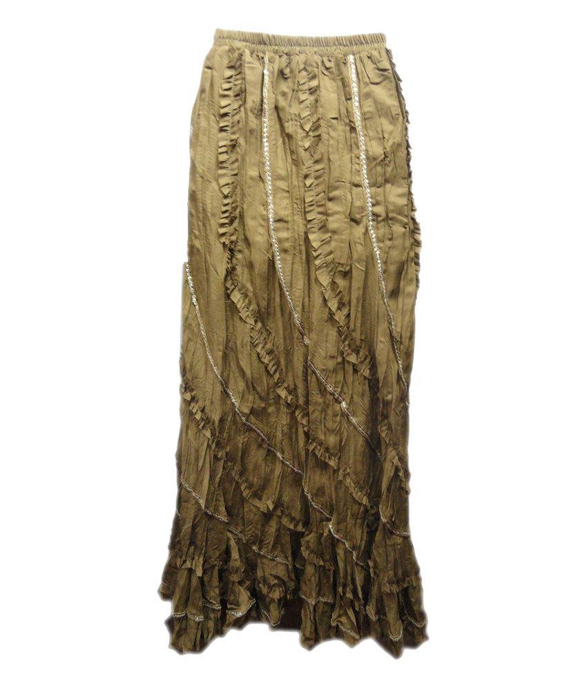 Threads Brown Cotton Printed Elastic Skirt