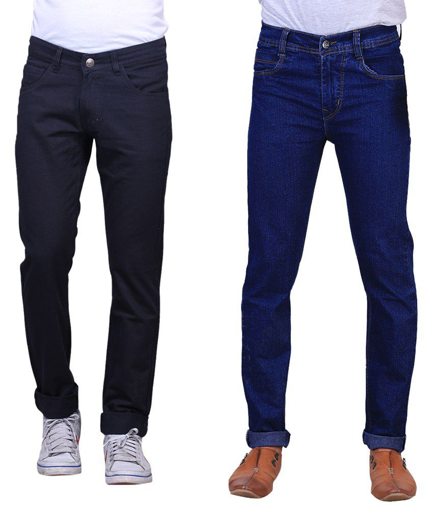 X-cross Combo Of 2 Blue Blended Cotton Jeans