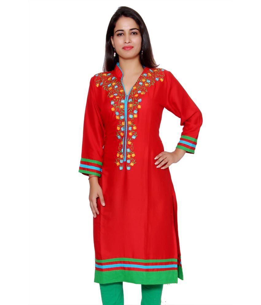 Aawari Red Poly Rayon Kurti
