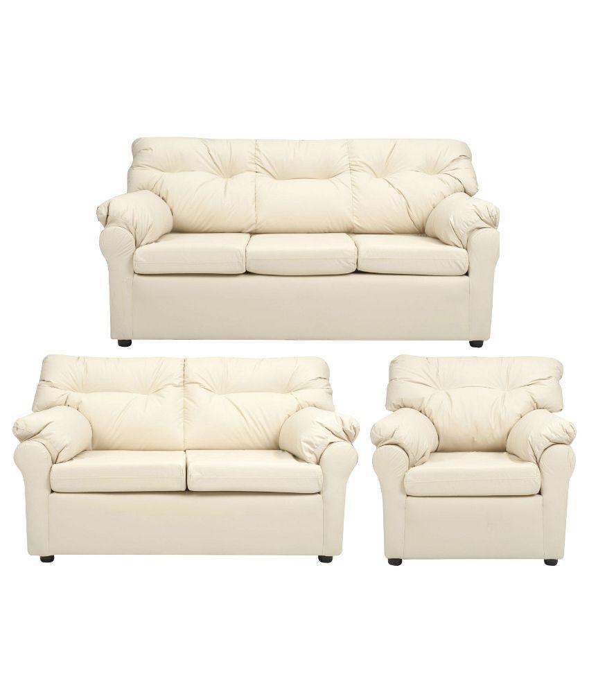 Elzada 6 Seater Sofa Set (3+2+1) In White ...