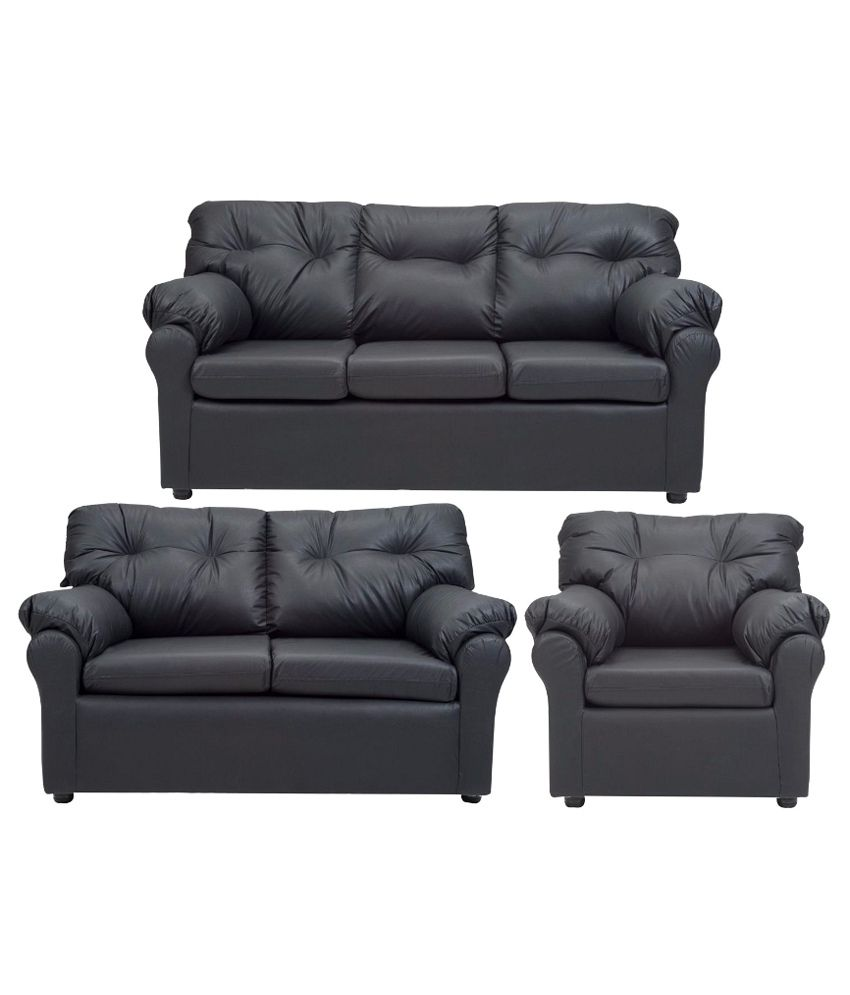 elzada 6 seater sofa set 3 2 1 in black buy elzada 6 seater sofa set 3 2 1 in black online. Black Bedroom Furniture Sets. Home Design Ideas