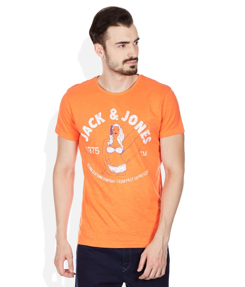Jack & Jones Orange Round Neck T Shirt