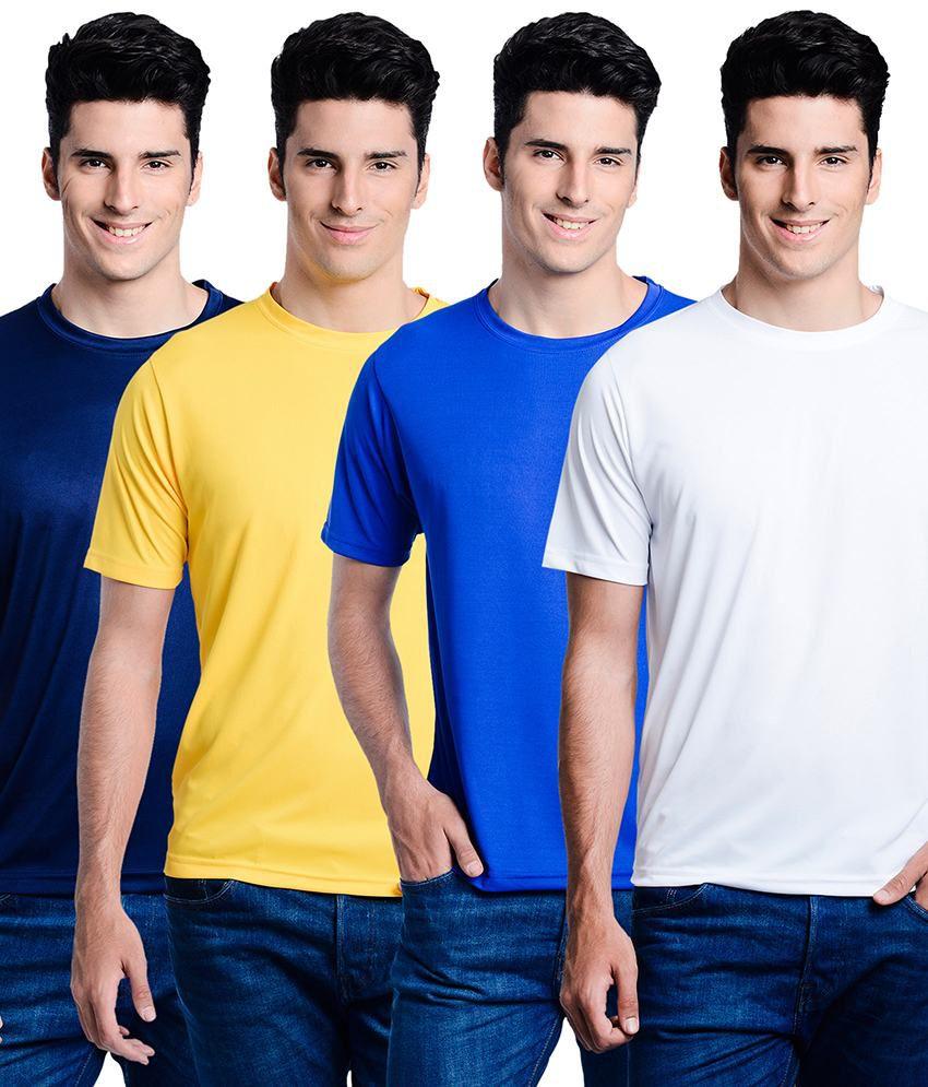 Superjoy Navy Polyester Round Neck Half T-Shirt For Men
