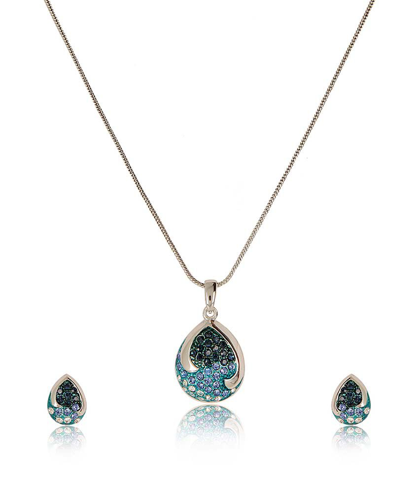 Estelle Blue Alloy Circle Of Life Crystal Necklace Set