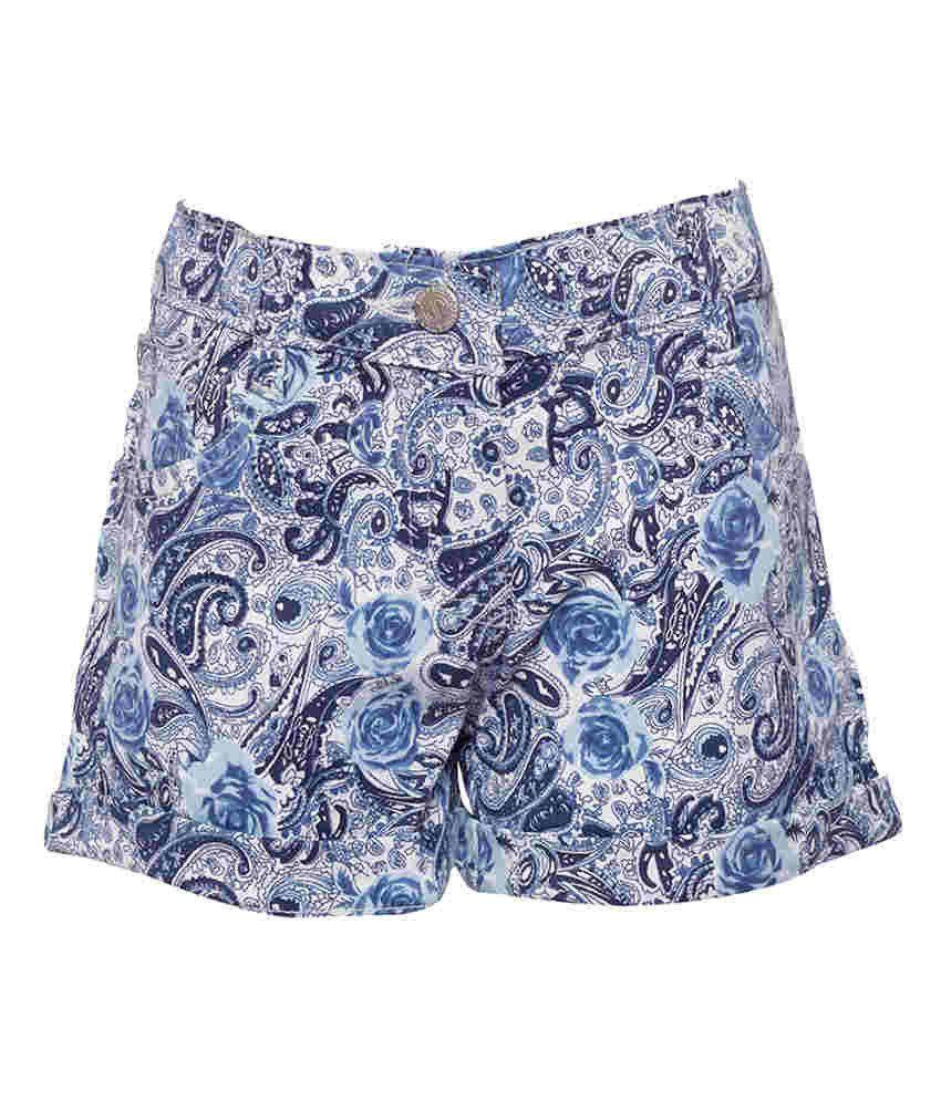 Joshua Tree Blue Cotton Printed Shorts