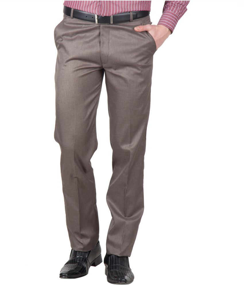 Kissan Global Brown Cotton Blend Formal Trousers