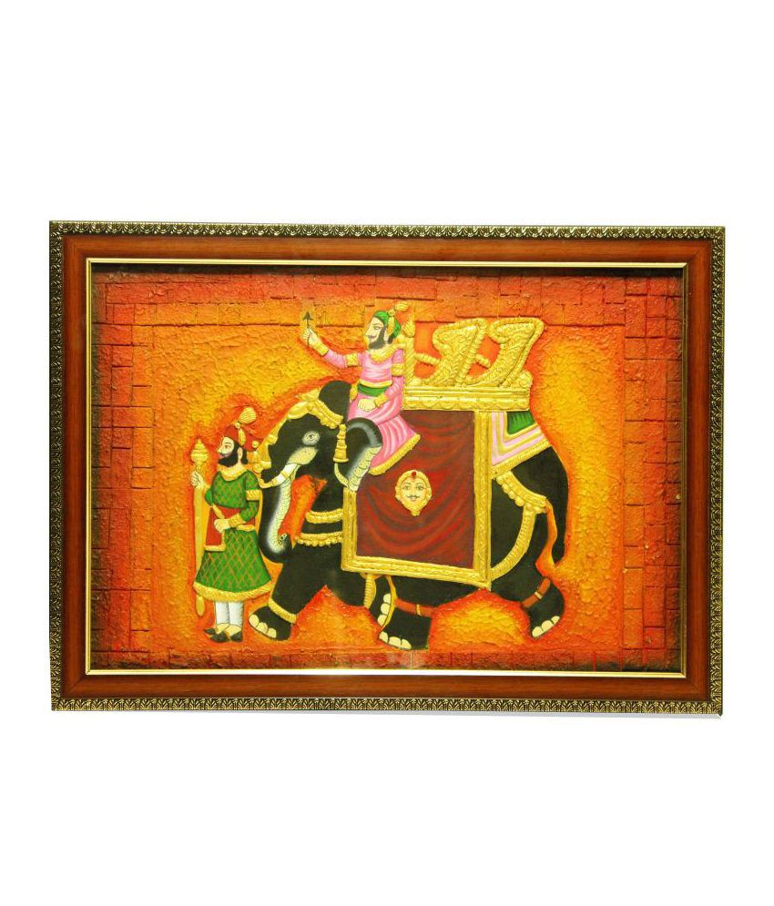 Shyam Arts Black King On Elephant Ride Wooden Painting With Frame