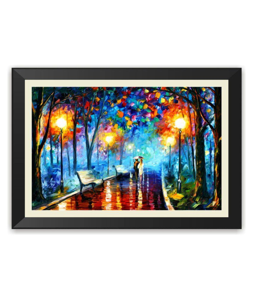 The Print Cart Matte Wooden Beautiful Colourful Lover Painting Beautiful Framed Poster
