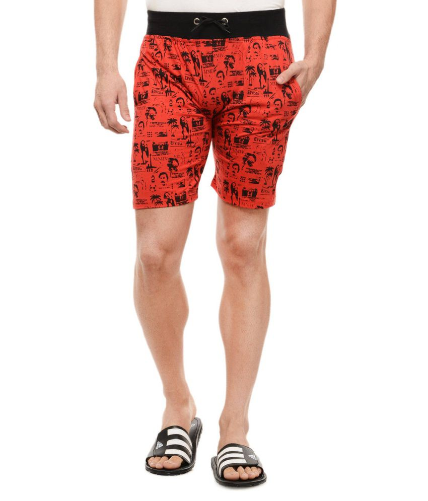 Glasgow Red Printed Cotton Shorts