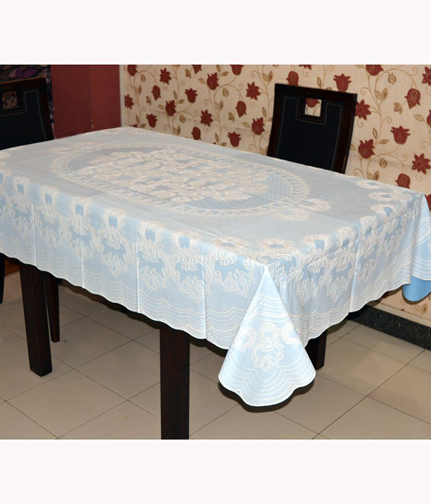 Katwa Clasic - 54 x 78 Inches Rangoli Lace Vinyl Dining Tablecloth (Blue)