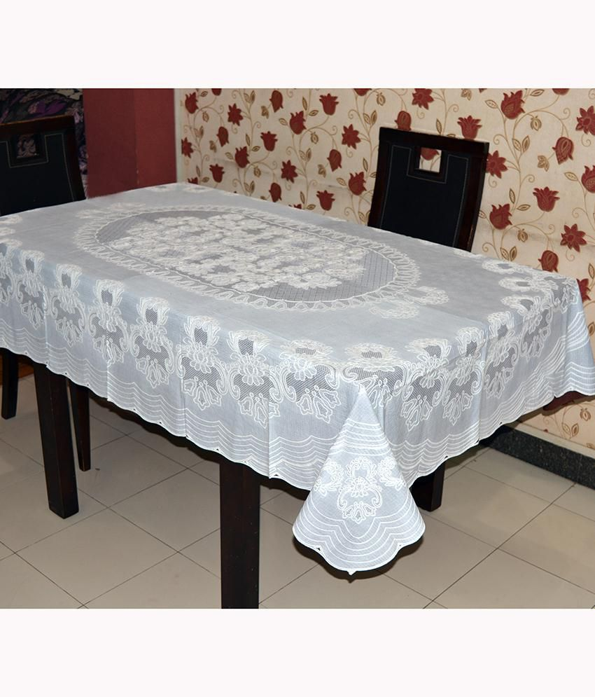 Katwa Clasic - 54 x 78 Inches Rangoli Lace Vinyl Dining Tablecloth (Brown)