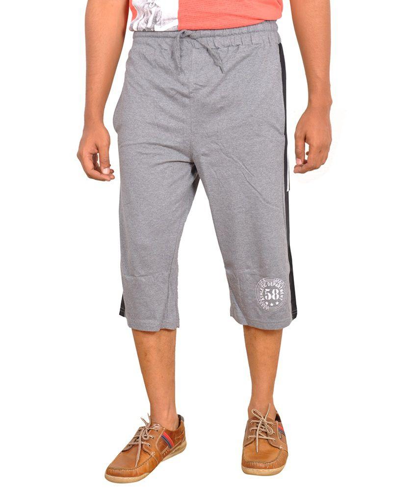 Njoy Gray Cotton Solid Three-Fourth