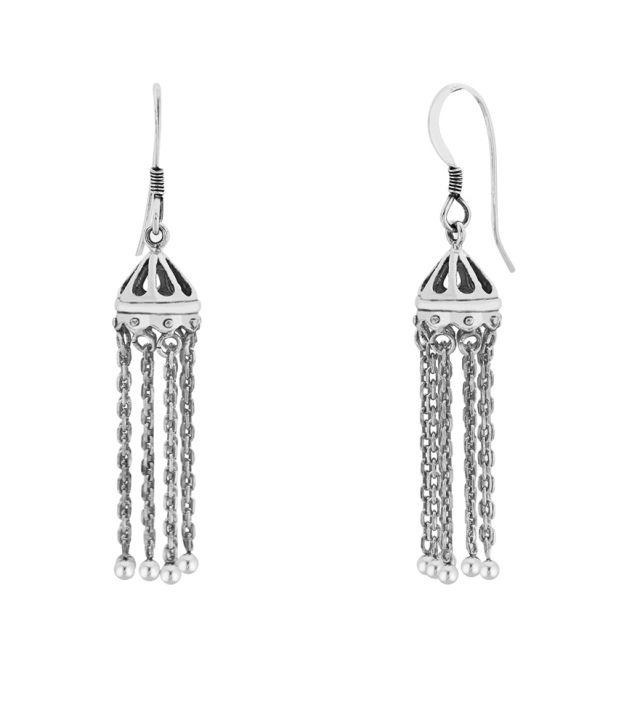 Taraash 92.5 Sterling Silver Antique Jhumki Earrings