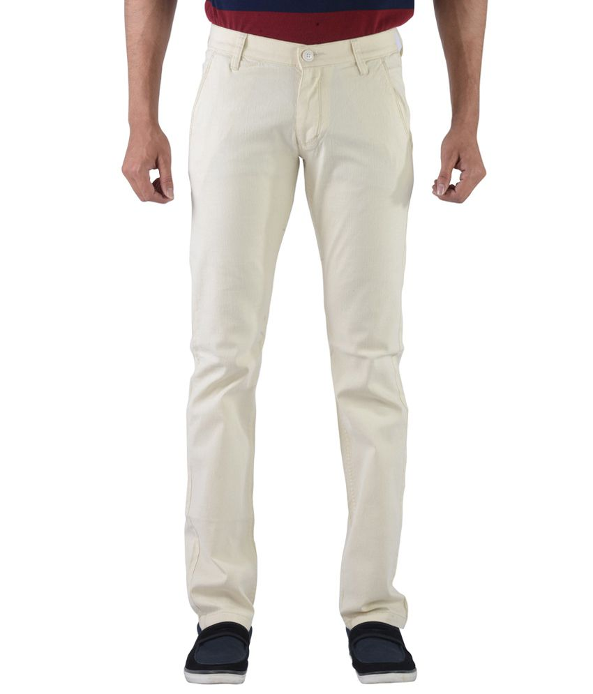 Vintage GhostWhite Linen Slim Fit Casual Chinos