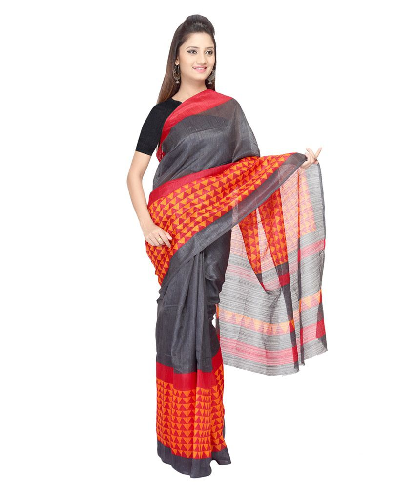 Vismit Multicolour Raw Silk Printed Saree With Blouse Piece