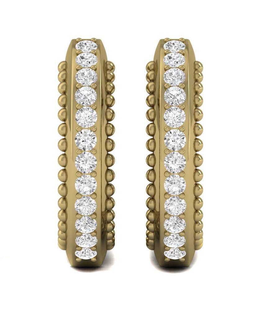 Ciemme Women's 0.94ct Gold Plated Hoop Channel Set Earrings