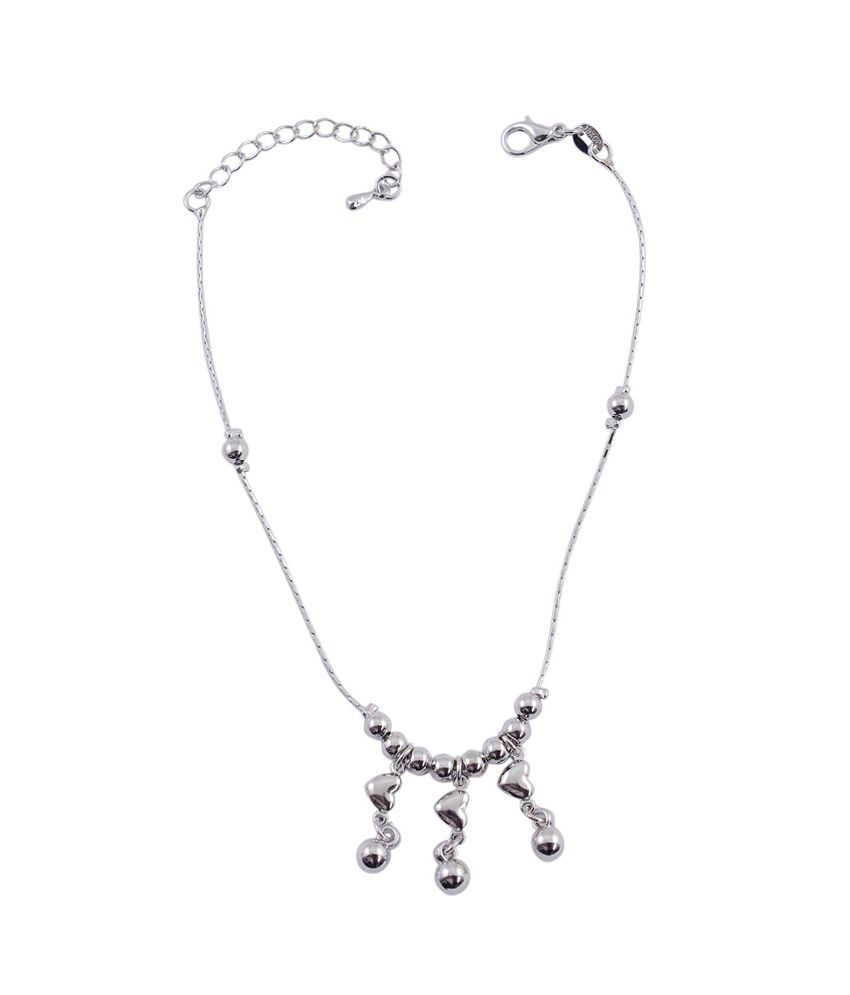 Much More Ethnic Traditional Design Silver Plated Beautiful Anklet/Payal Gift Jewelry