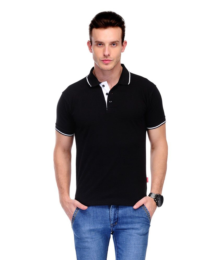 Scott international black cotton polo t shirt buy scott for Black cotton polo shirt