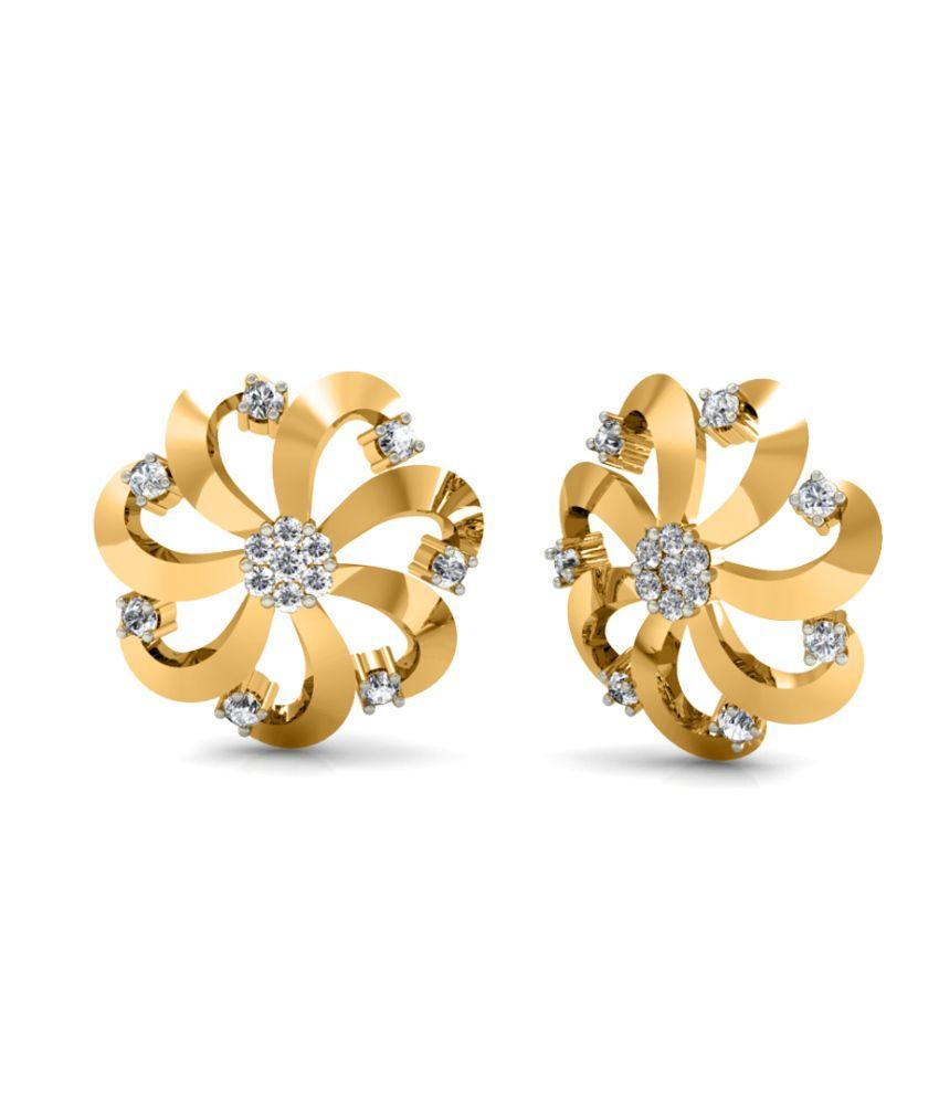 Diaonj 18kt Gold Queen Daisy Fantasy Studs Earring